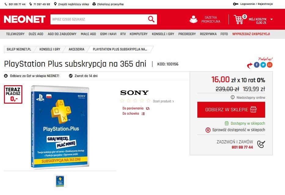 Playstation Plus 365 dni - NEONET