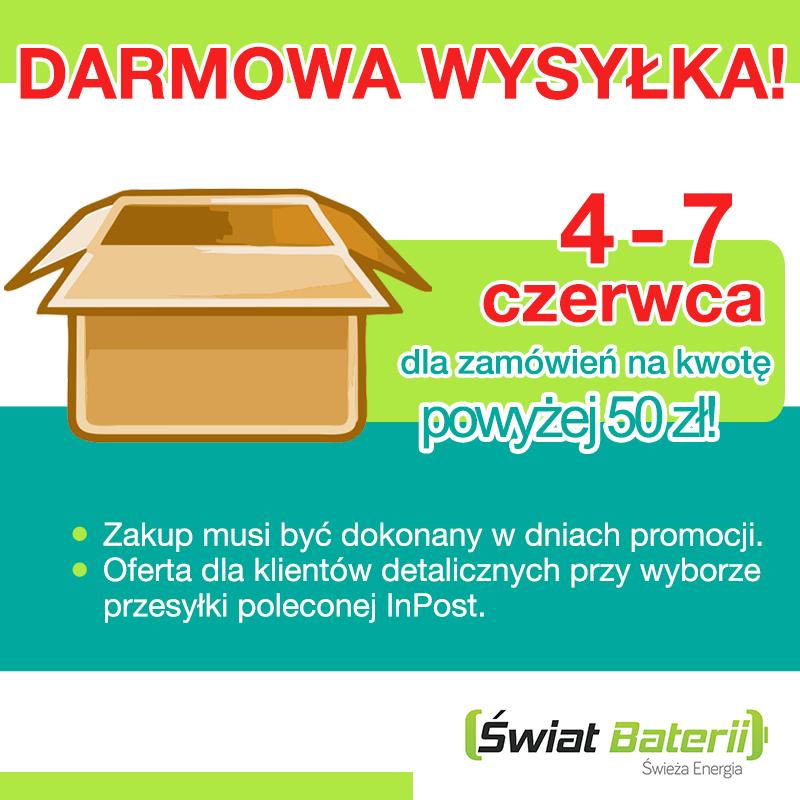 Darmowa dostawa 4-7 czerwca @ Świat Baterii