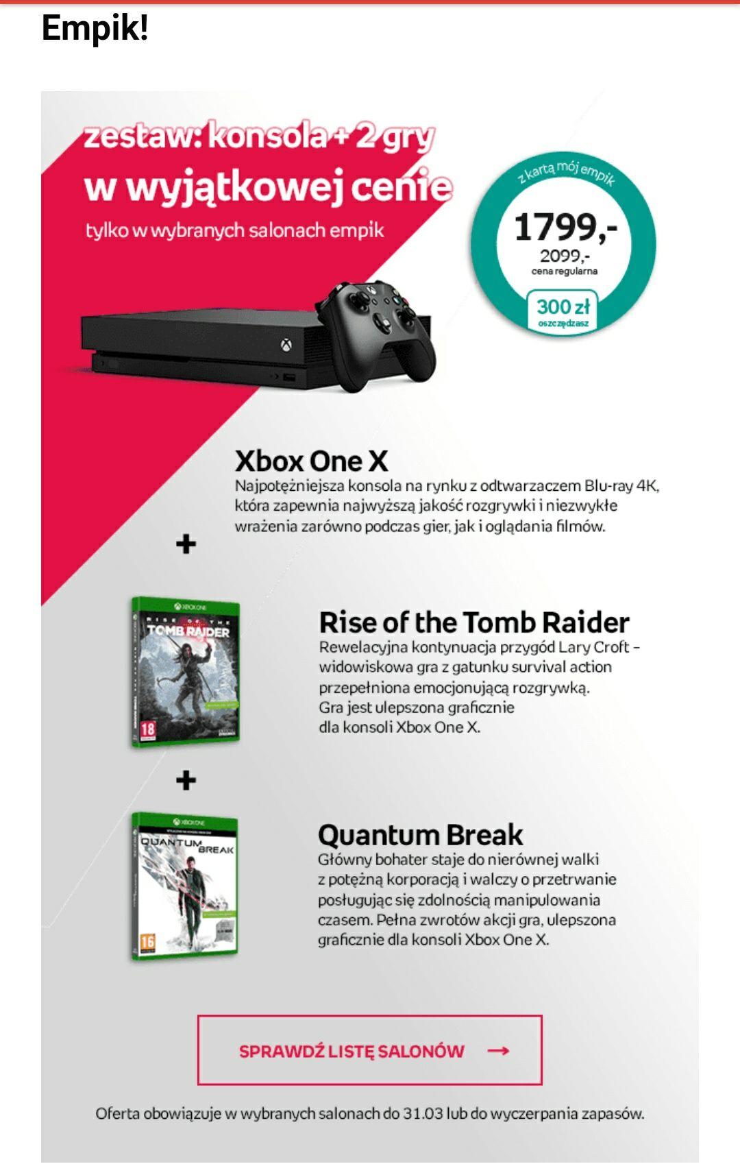 Xbox One X + 2 gry