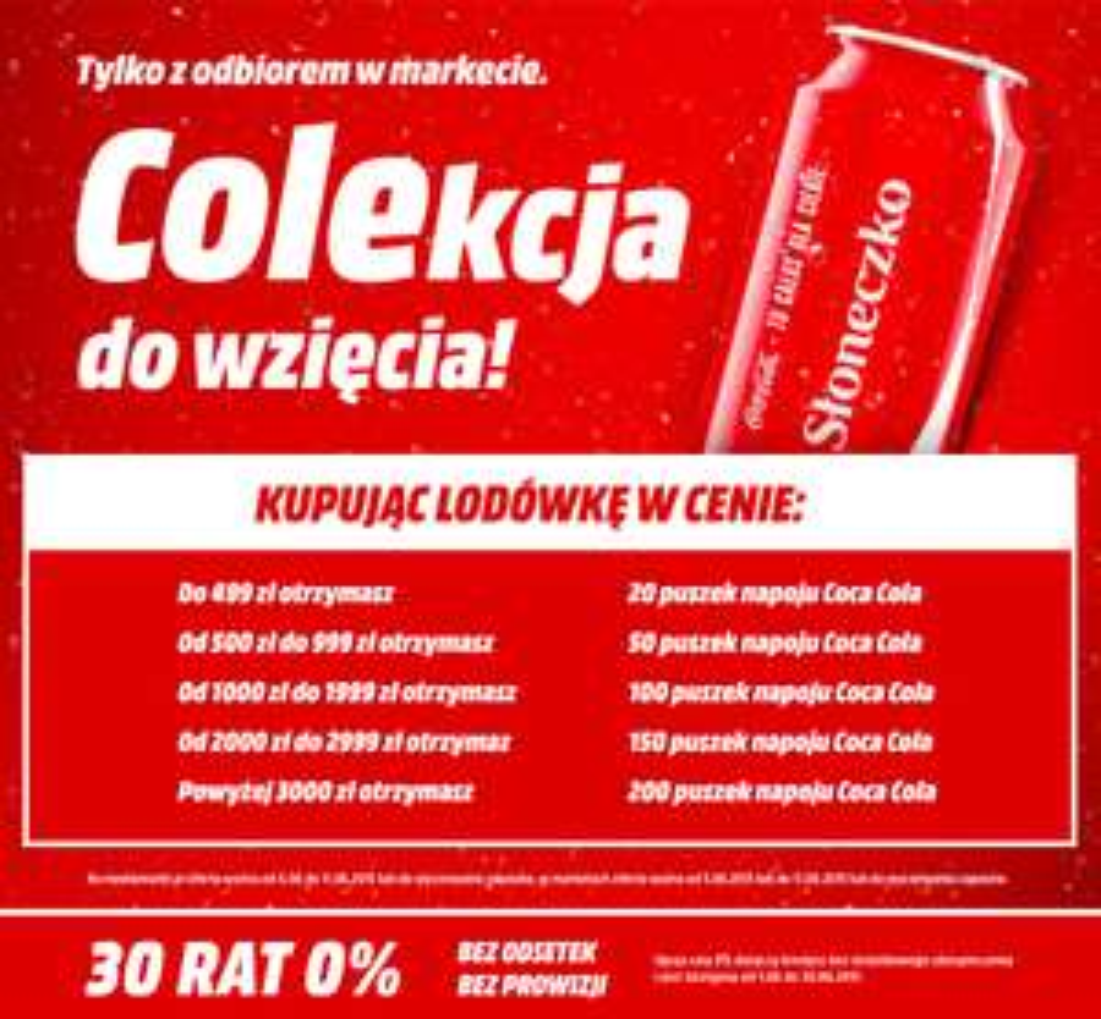Nawet 200 puszek Coca-Coli za darmo przy zakupie lodówek @ Media Markt