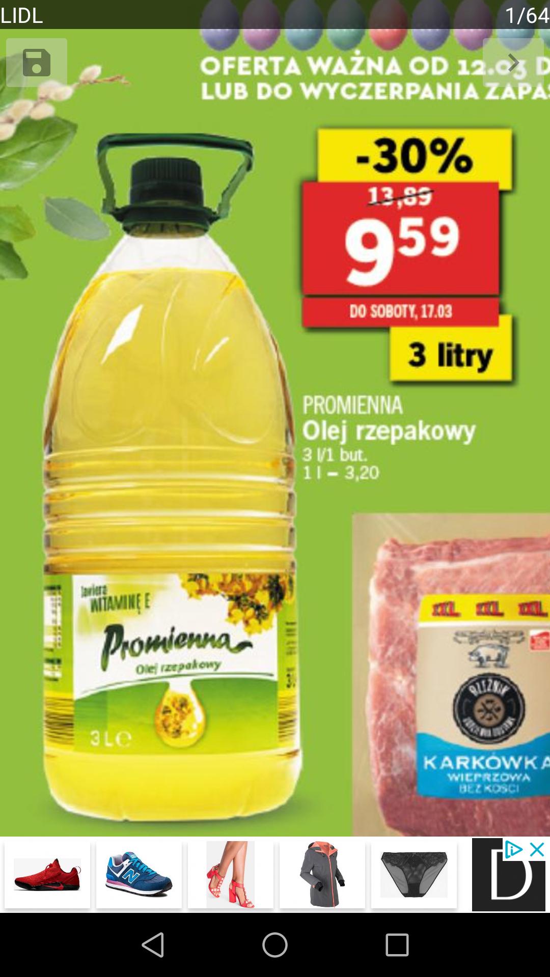 [Lidl] Olej rzepakowy Promienna 3 litry