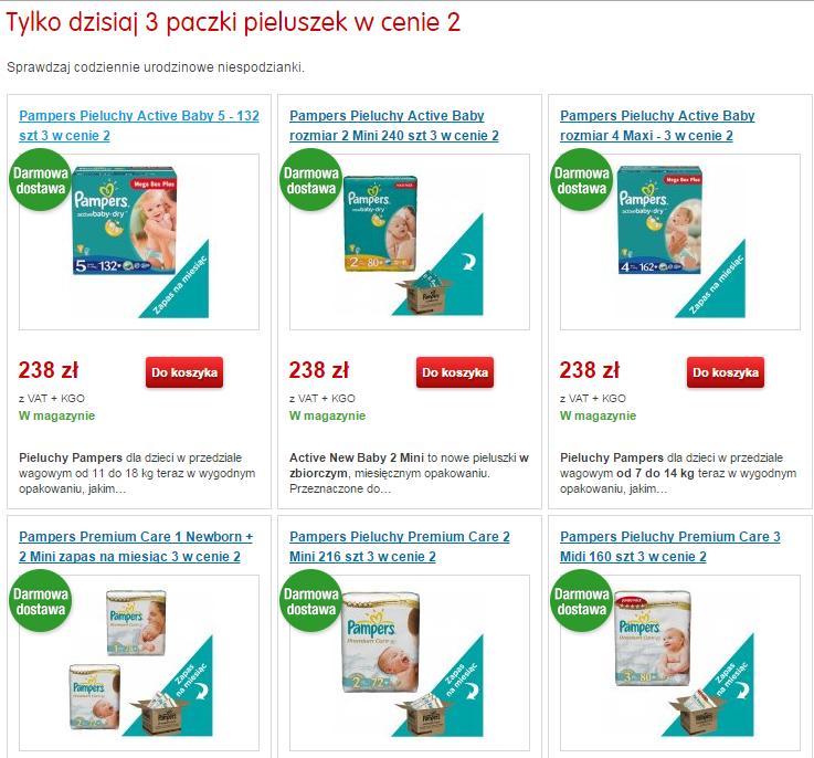 3 w cenie 2 opakowania MEGA BOX pieluch Pampers Active Baby/Premium Care + darmowa dostawa @ Mall