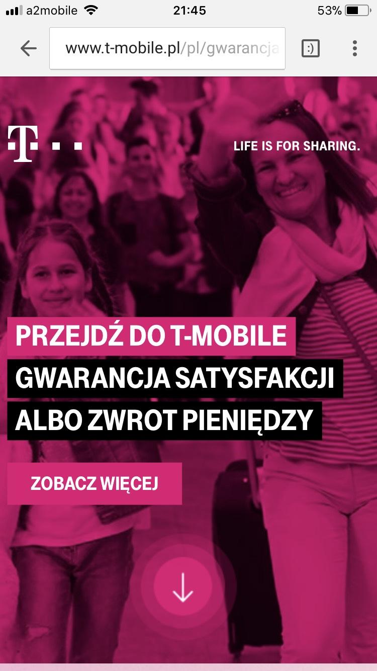 T-mobile Gwarancja satysfakcji albo zwrot pieniędzy