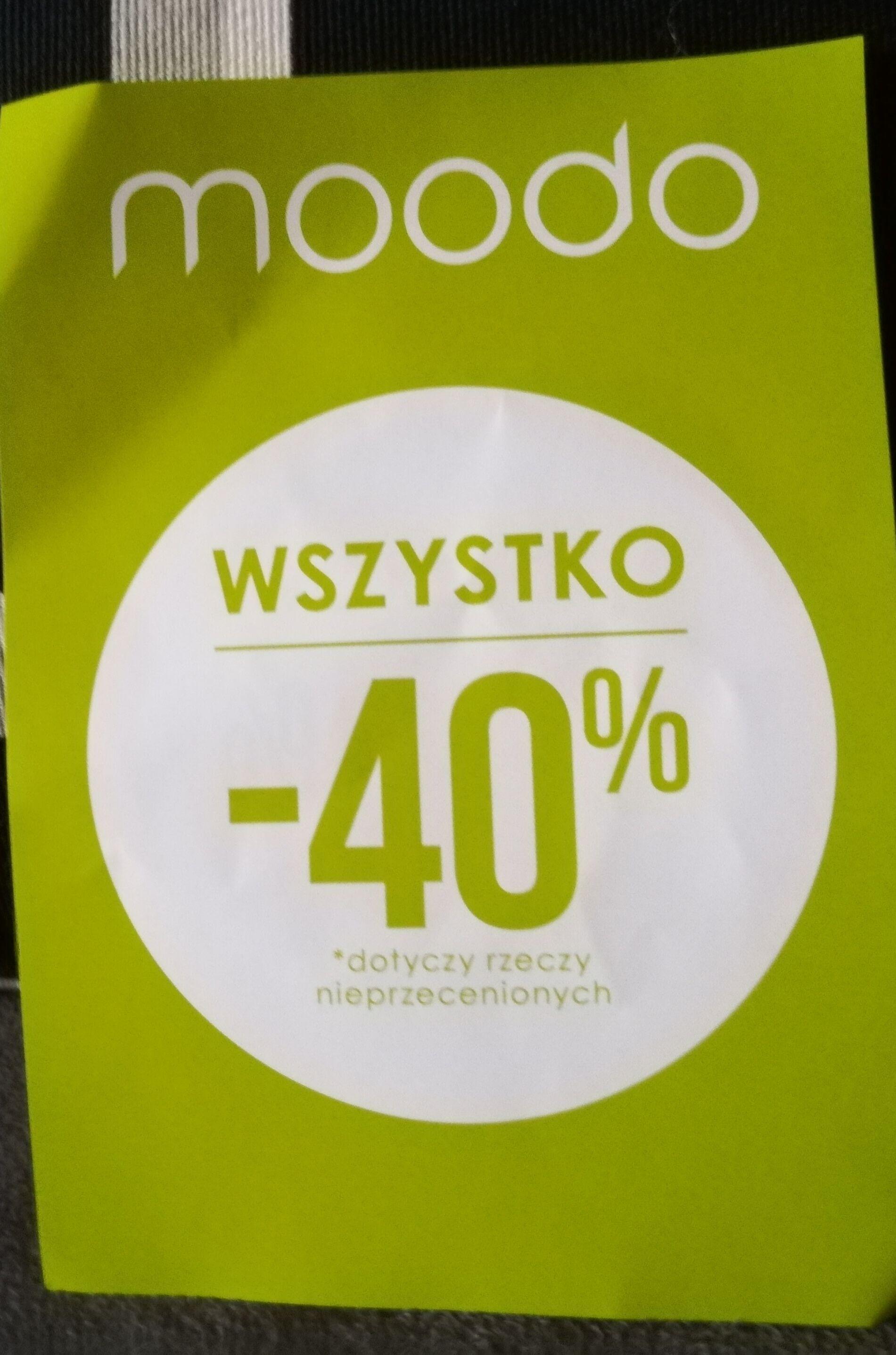-40% na nowa kolekcje i -20% na przecene @moodo stacjonarne
