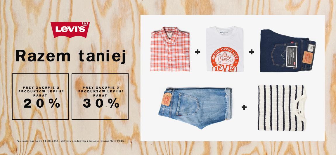 Rabat 20% przy zakupie 2 produktów i 30% przy zakupie 3 produktów marki Levi's @ Jeans.pl