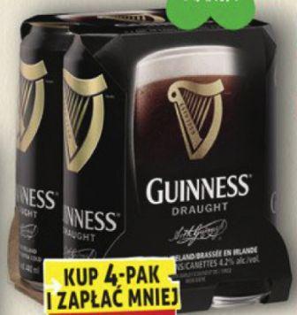 Piwo Guinness 3,95 zł za puszkę 440 ml przy zakupie 4 szt. @Biedronka
