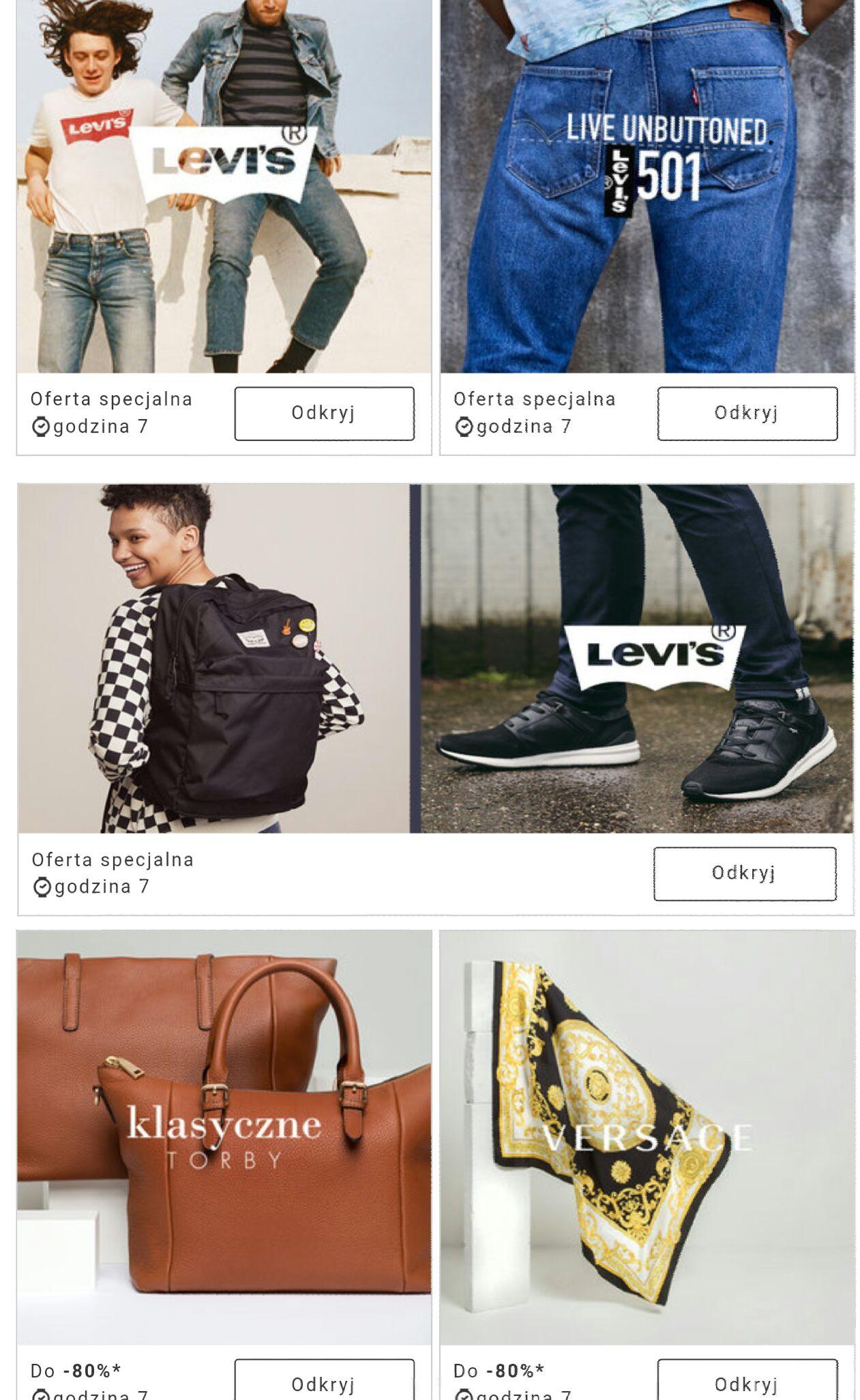 LEVI'S legendarne jeansy, odzież i obuwie (w tym seria 501) & Versace