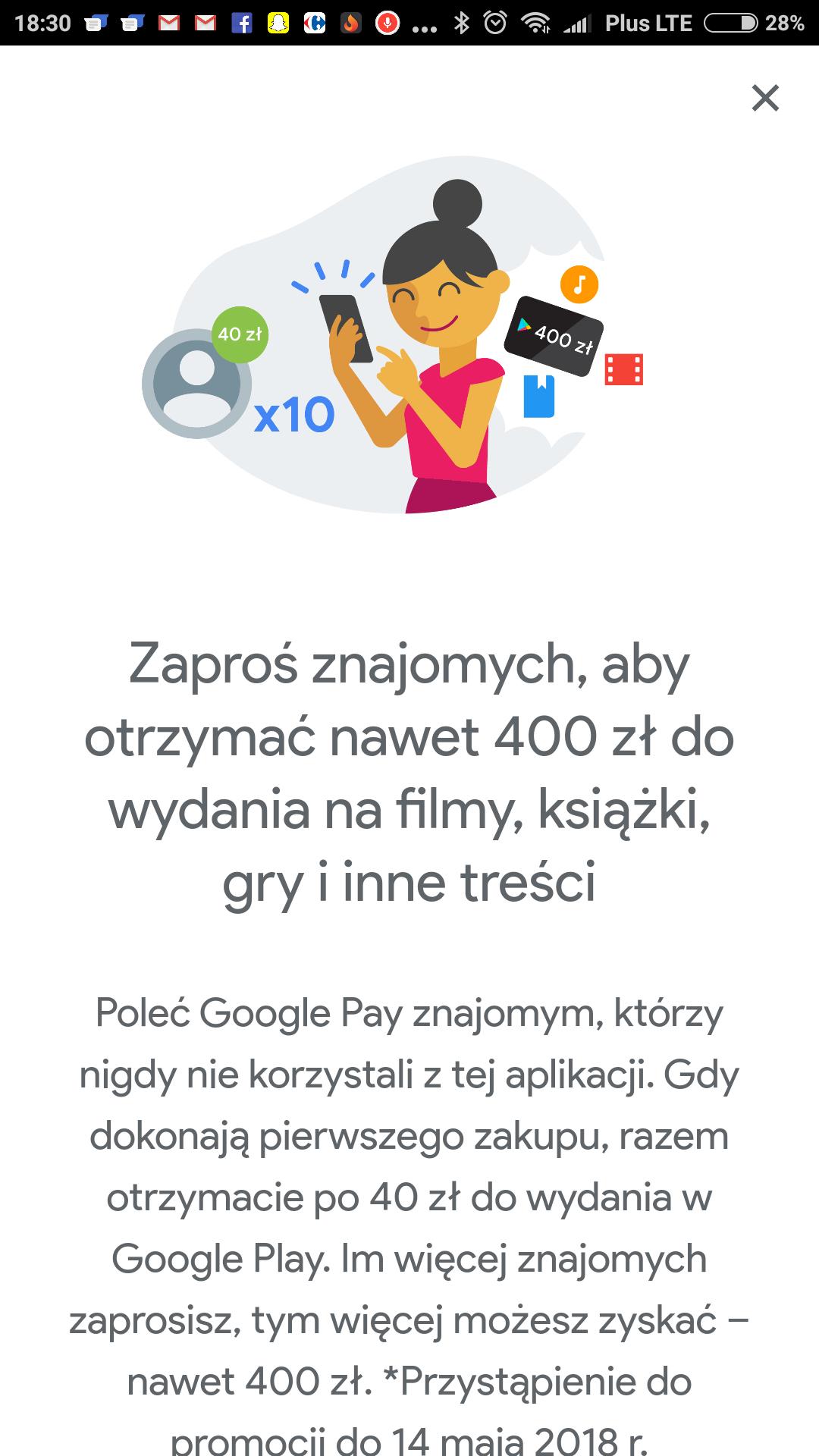 Do 400zł do wydania na Google Play za polecenie appki Google Pay!