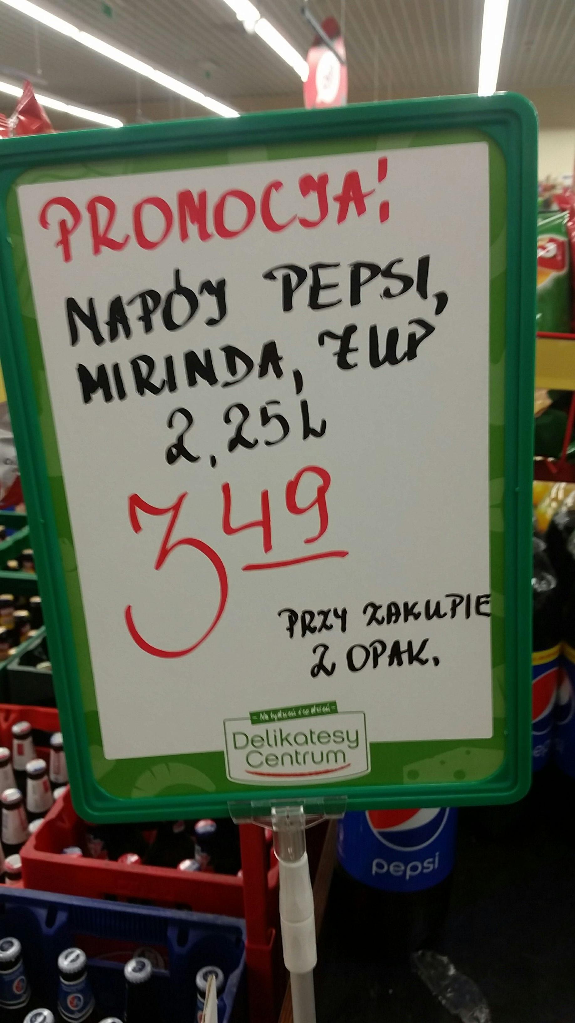 PEPSI 3.49 zł za 2.25 L przy zakupie 2 opk.
