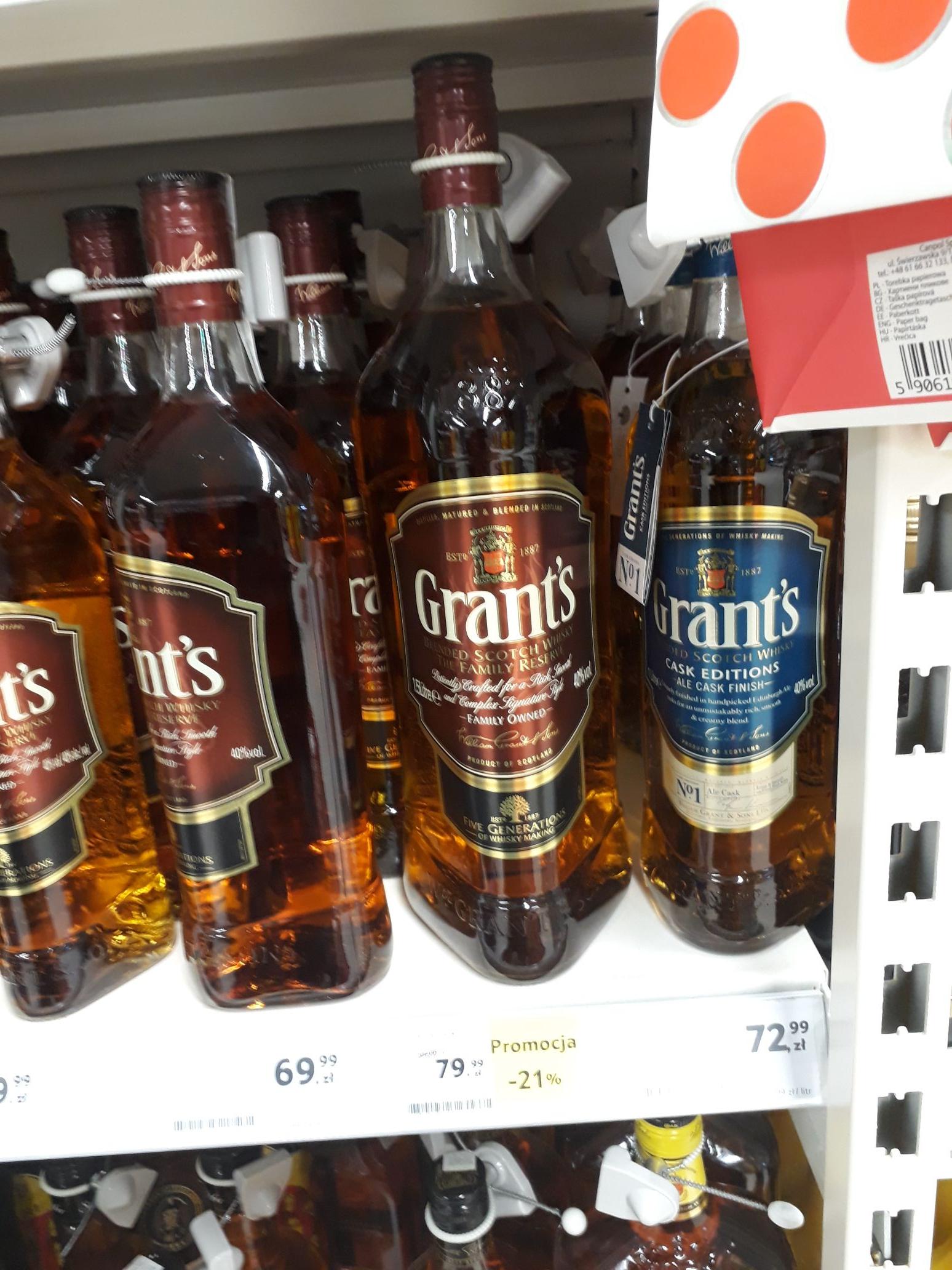 Whisky Grant's 1.5l.Z kuponami możliwa cena 64.99 tylko sprawdzcie apke ;)