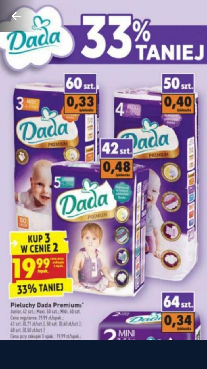 Pieluchy Dada 3 w cenie 2 Biedronka