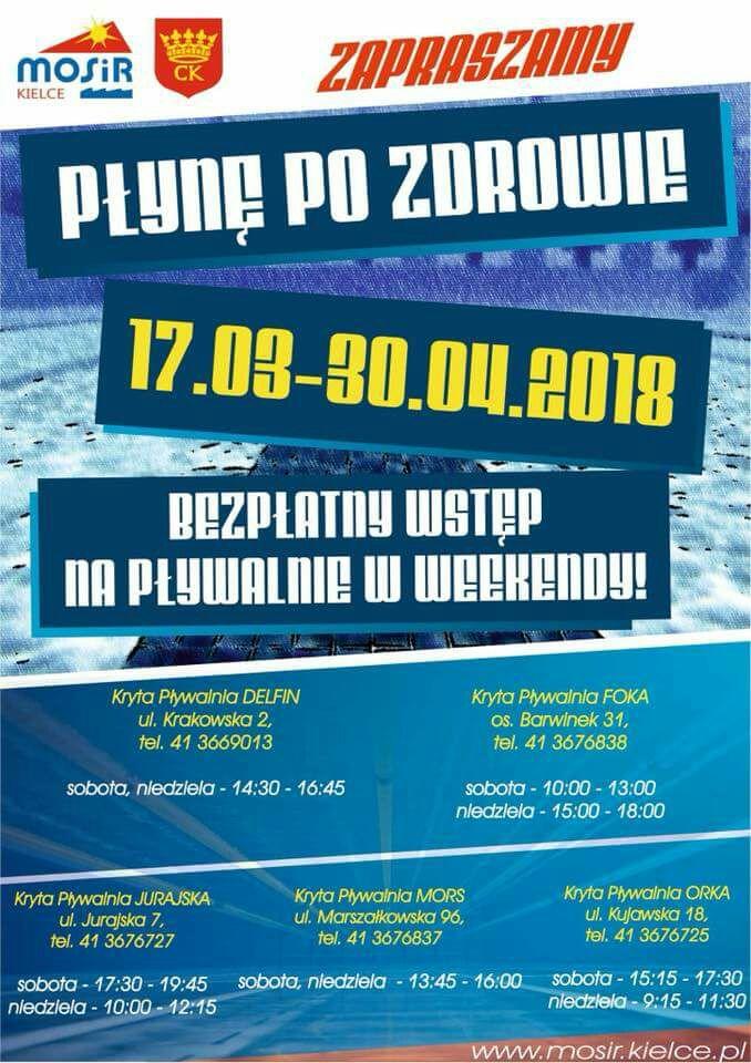 Darmowe pływanie w weekendy w Kielcach