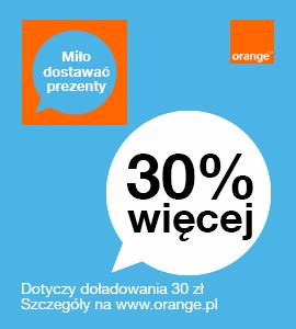 30% więcej za doładowanie 30zł przez Internet @ Orange