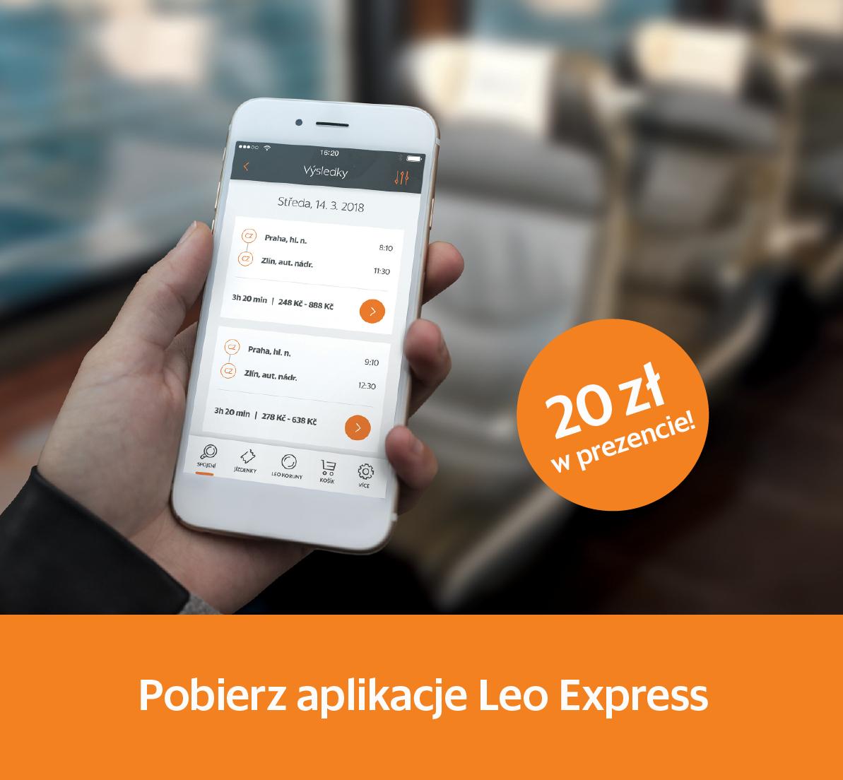 LEO Express: VOUCHER 20 ZŁ w prezencie za pierwsze logowanie do aplikacji (możliwe darmowe przejazdy!)