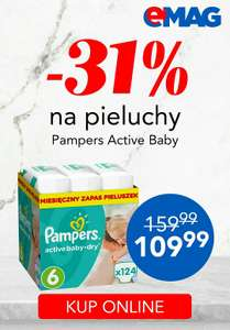 Pieluchy Pampers Active Baby-Dry w emag -31% za 109,99zl