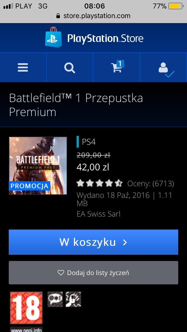 Battlefield 1 Premium Pass PS Store