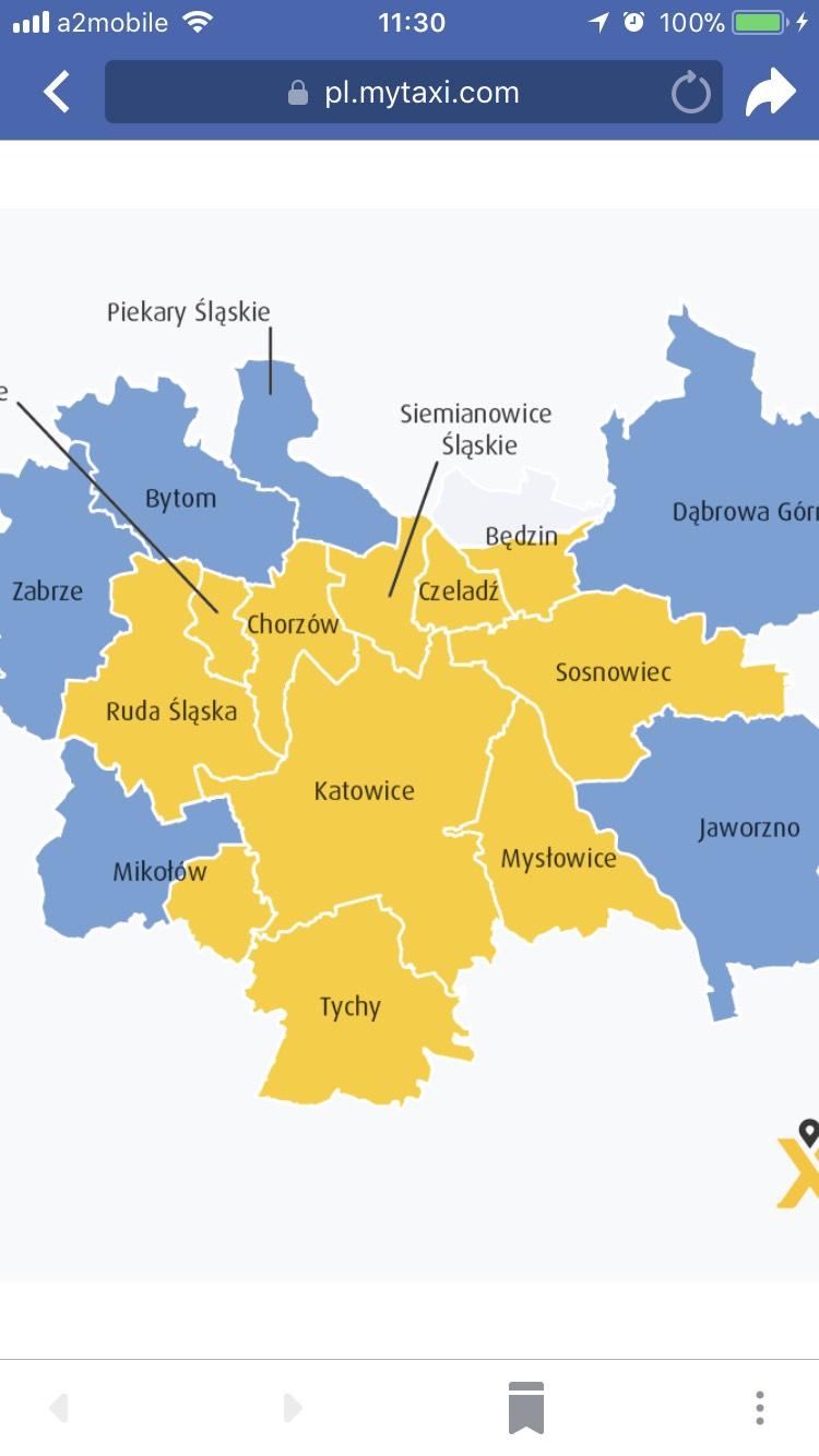 MyTaxi - 50% ceny w GOP na Śląsku do 30.04