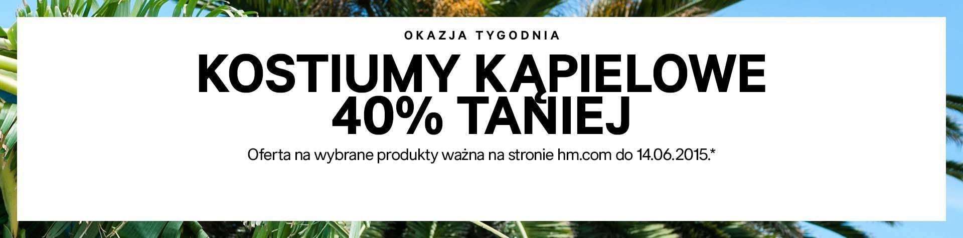 Stroje kapięlowe/szorty taniej o 40% @ H&M