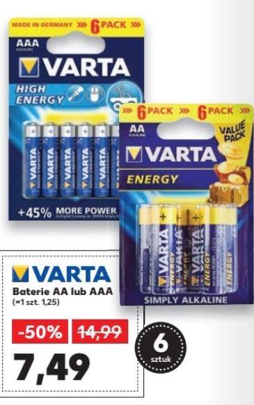 Baterie Warta High Energy AA lub AAA (6 sztuk)