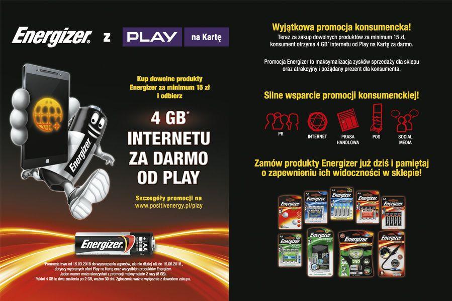 Play 4GB internetu za zakup produktów Energizer