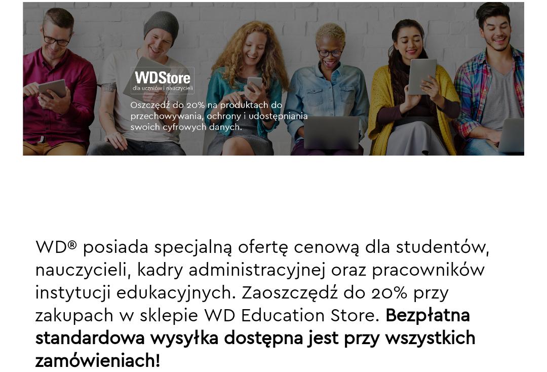 Western Digital (WD) - 20% zniżki + darmowa dostawa dla studentów i pracowników uczelni