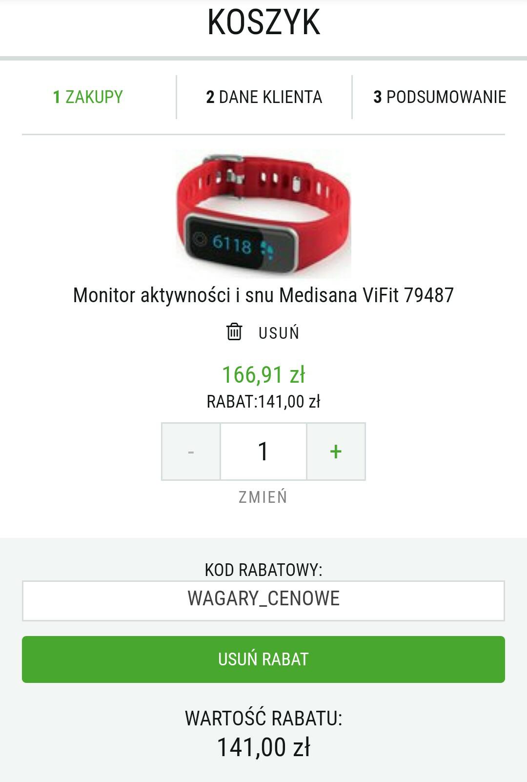 Medisana ViFit 79487 monitor aktywności i snu za 25,91zł. Polar A300 HR za 394,92zł!