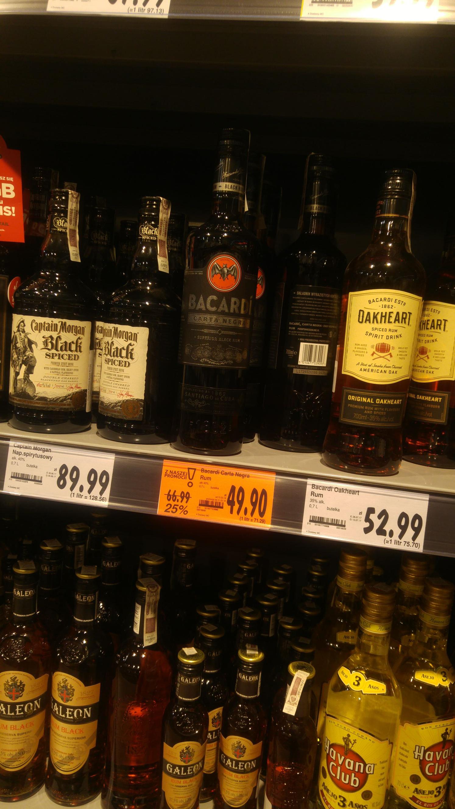 Rum Bacardi carta negra 0.7 Kaufland