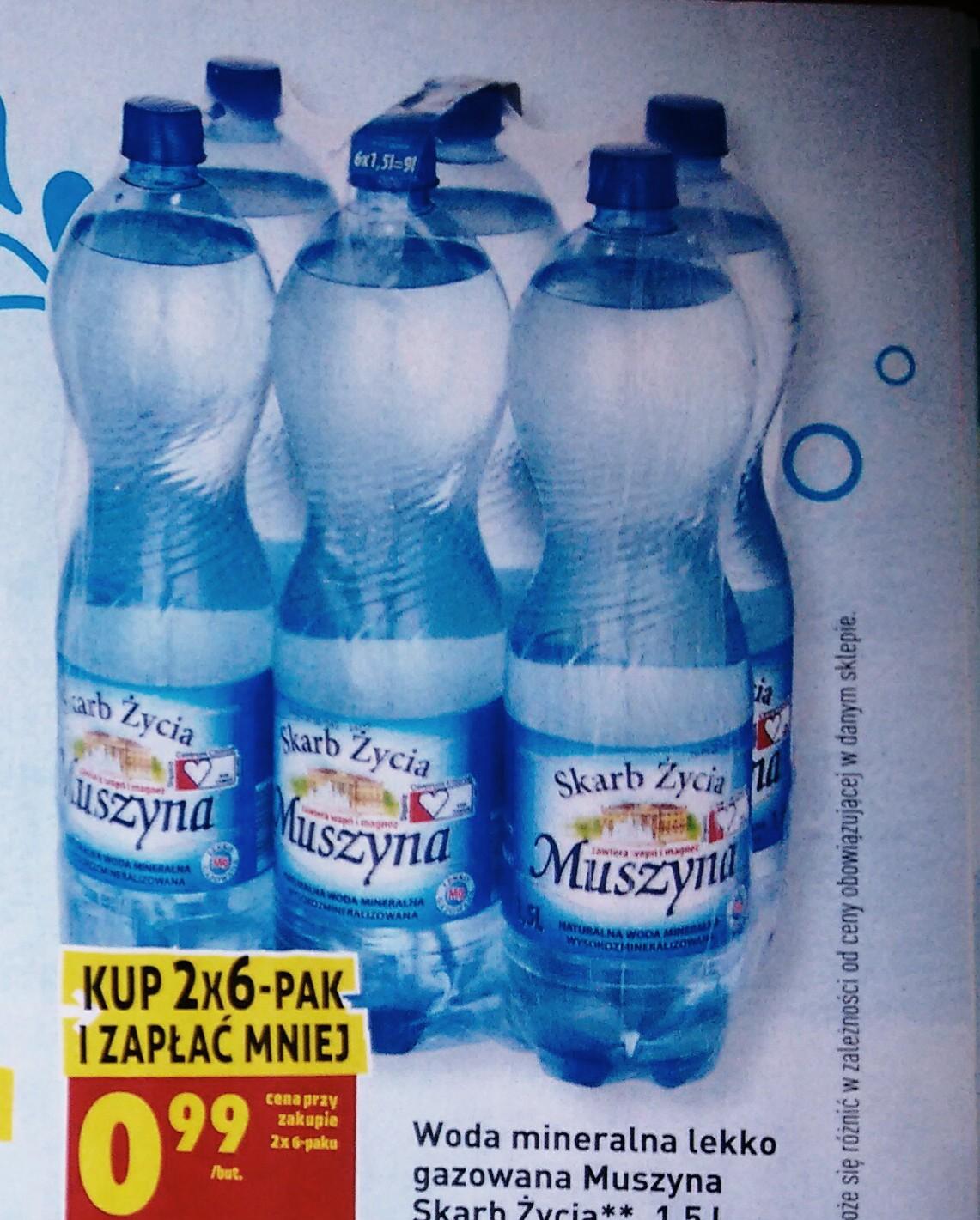 Woda mineralna Muszyna 1,5L przy zakupie dwóch sześciopaków.  @Biedronka