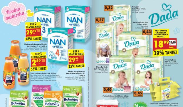 Pieluszki Dada Soft za 18,99zł przy zakupie chusteczek oraz mleko NAN za 29,99zł @ Biedronka