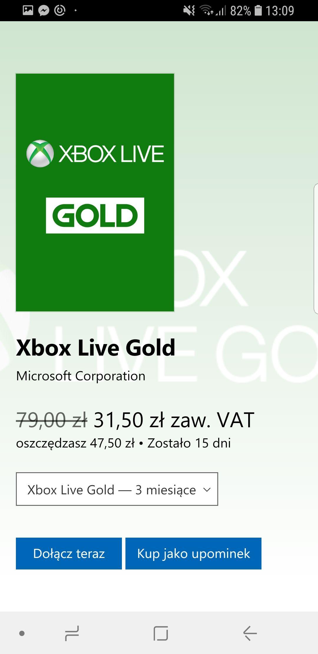 Xbox Live Gold na 3 miesiące za 31.50