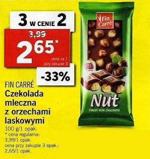 3x czekolada Fin Carre mleczna z orzechami laskowymi (2,65zł za 1) @ Lidl