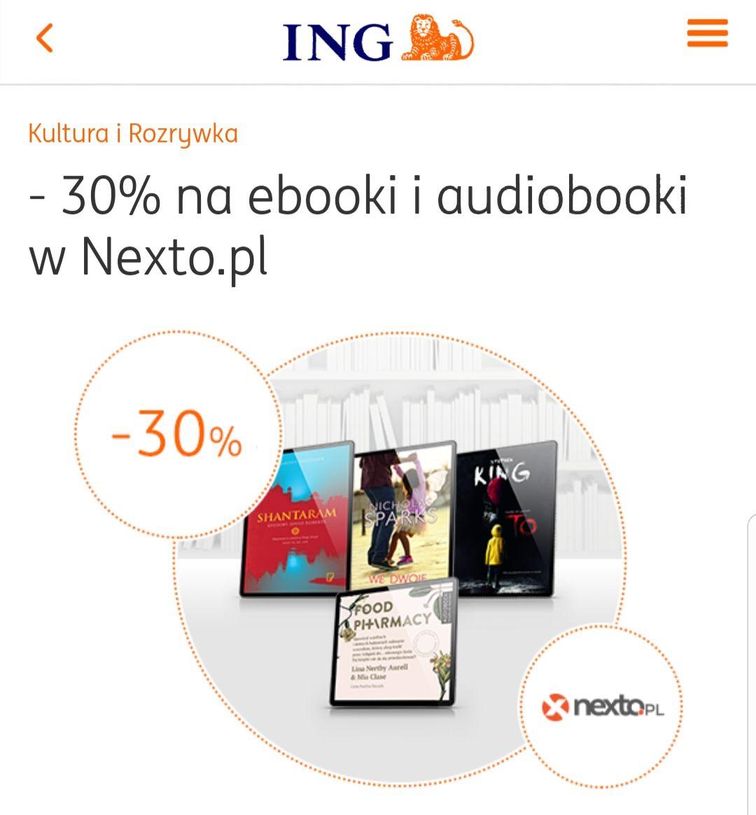 30% rabatu na e-booki i audiobooki w Nexto.pl