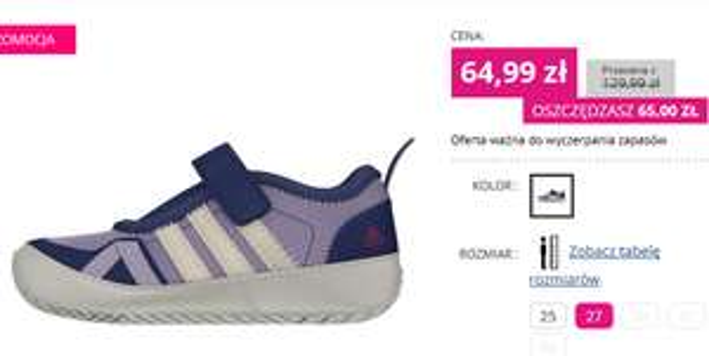 Dziecięce buty Adidas przecenione ze 130zł na 65zł @ Martes Sport
