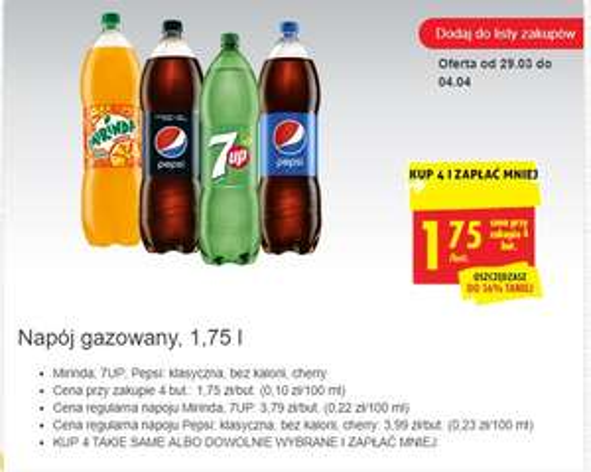 Napój gazowany, 1,75 l BIEDRONKA (Mirinda; 7UP; Pepsi)