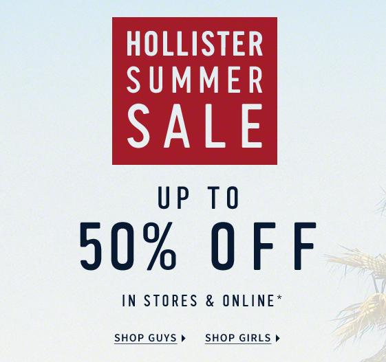 Wyprzedaż z rabatami do 50% @ Hollister