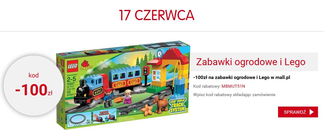 Rabat -100zł na zabawki ogrodowe i klocki Lego + darmowa dostawa prawie na wszystkie produkty @ Mall