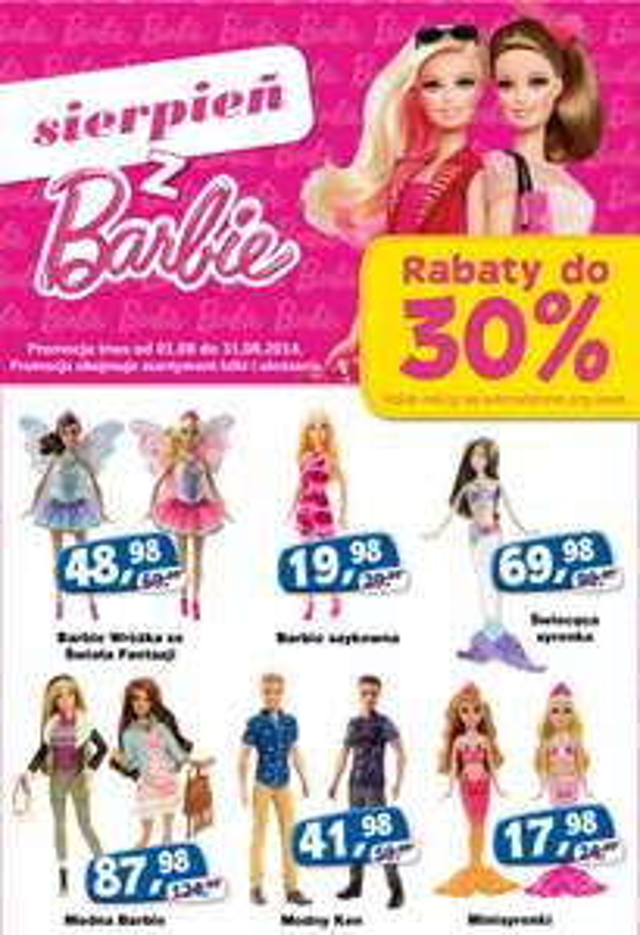 sierpień z Barbie, do -30% na lalki i akcesoria @ ToysRus