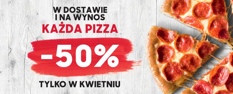 Każda pizza w dostawie i na wynos w kwietniu -50% w Pizza Hut (także przez Pizza Portal)