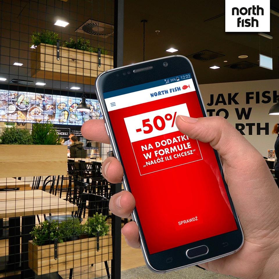 """-50% na dodatki """"NAŁÓŻ ILE CHCESZ""""  przy zakupie dowolnej ryby lub rullera [aplikacja]"""