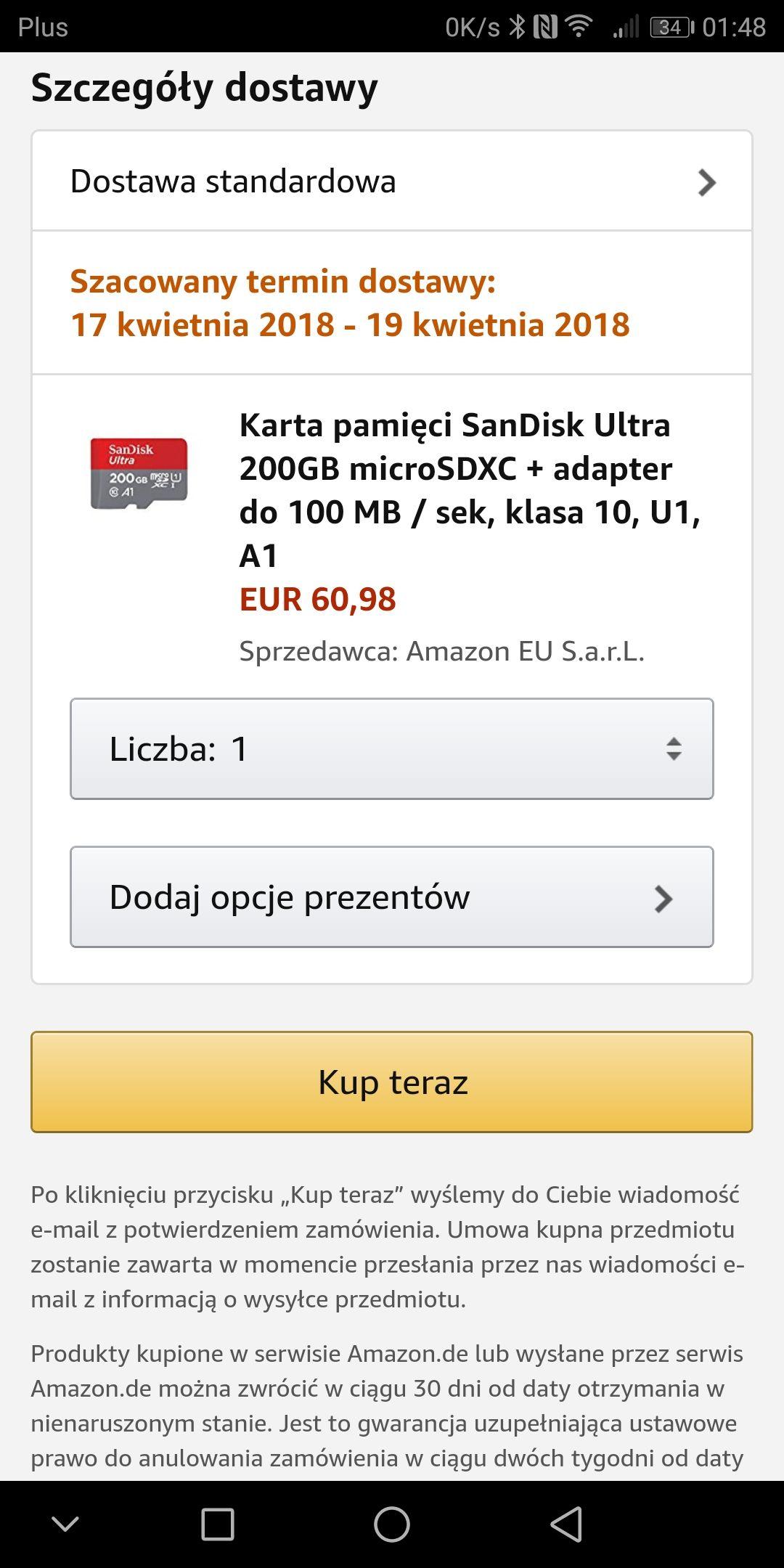Karta pamięci SanDisk 200GB microSDXC