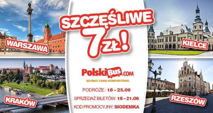Warszawa - Rzeszów, Kraków, Kielce za 7PLN @ PolskiBus.pl