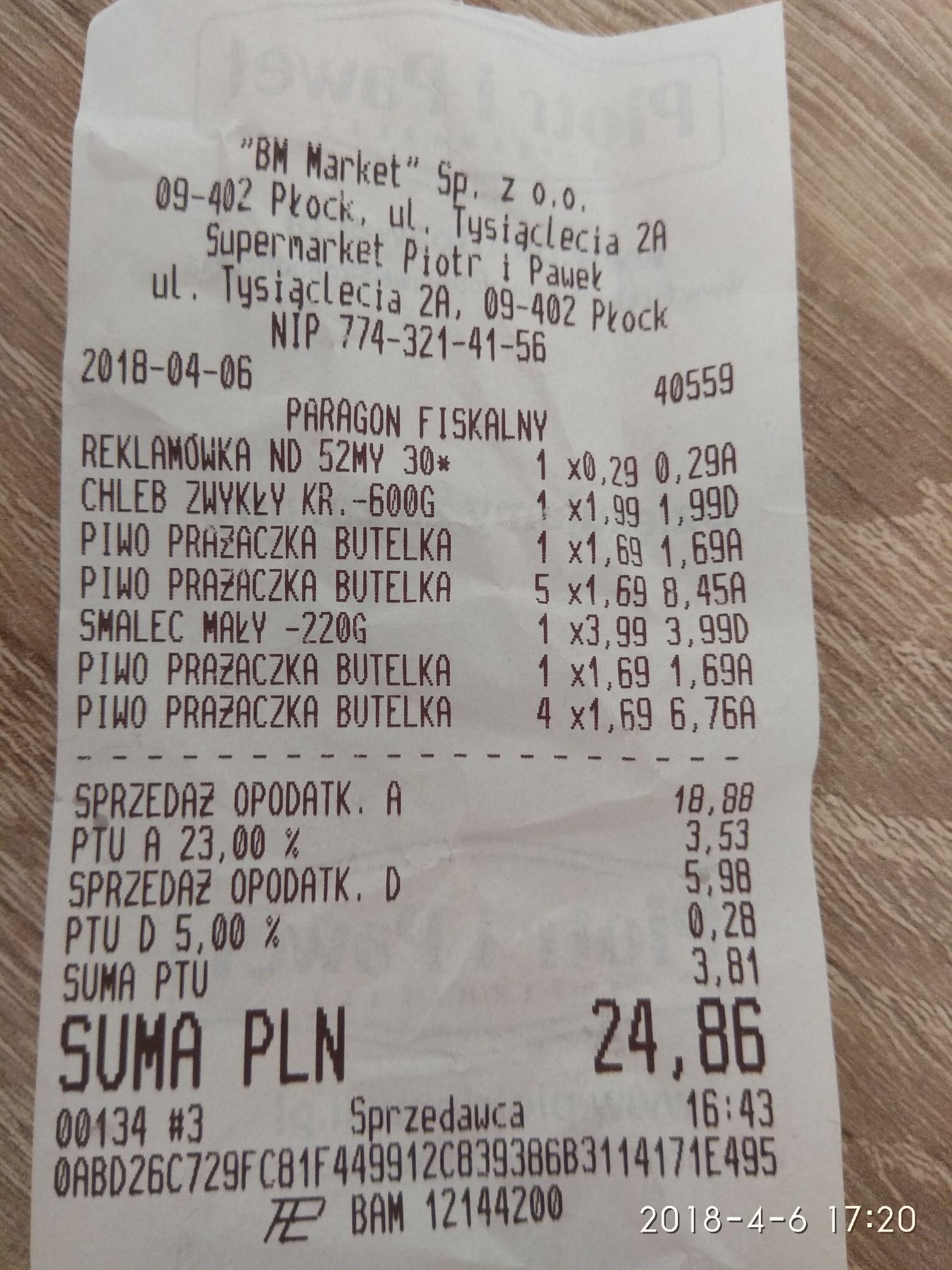 Piwo Prazacka za 1.69 w Piotr i Paweł