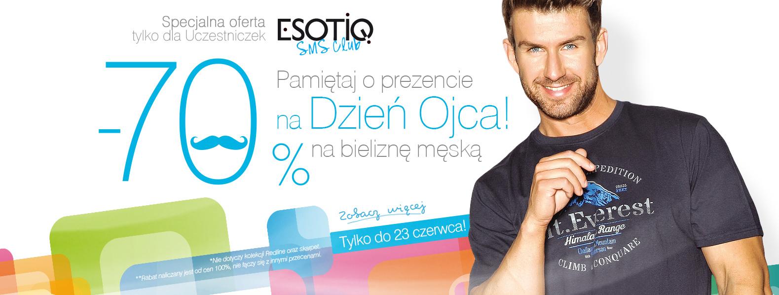 Rabat 70% na męską bieliznę dla Członków Klubu @ Esotiq