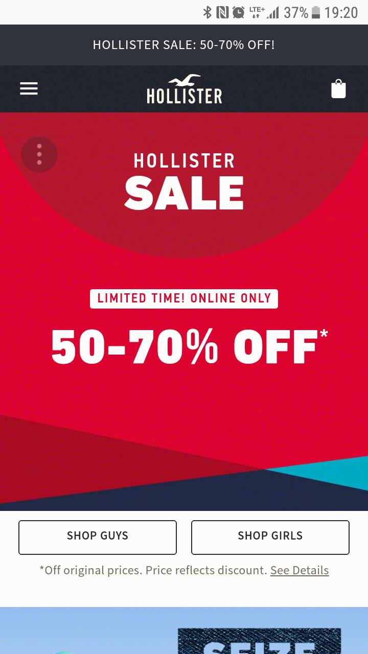 Wyprzedaż w Holister 50-70%