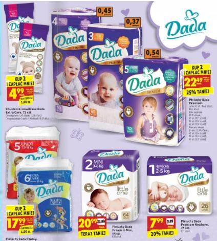 Pieluszki Dada Premium za 22,49zł przy zakupie dwóch paczek @ Biedronka