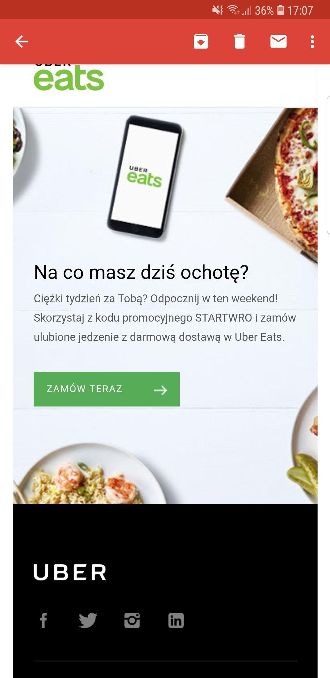 Uber Eats darmowa dostawa we Wrocławiu