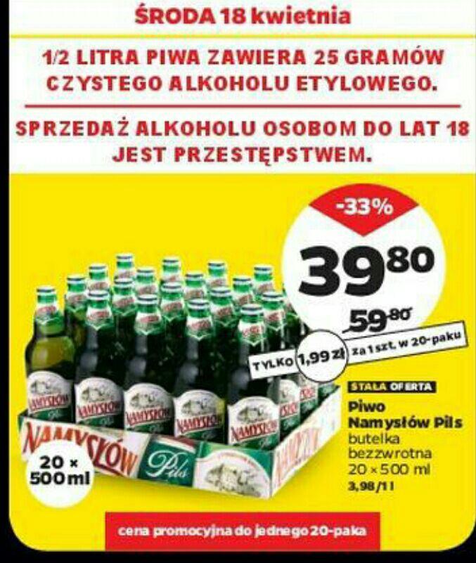 Piwo Namysłów Pils w Netto od 18.04. Za 1.99 przy zakupie 20szt.