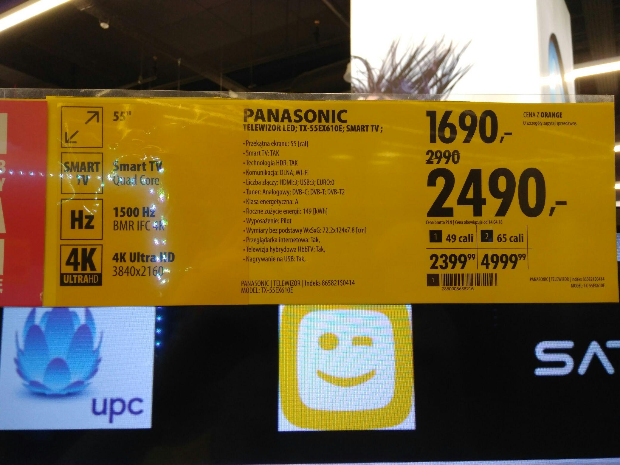 TV Panasonic 55ex610 za 2490 w Media Expert