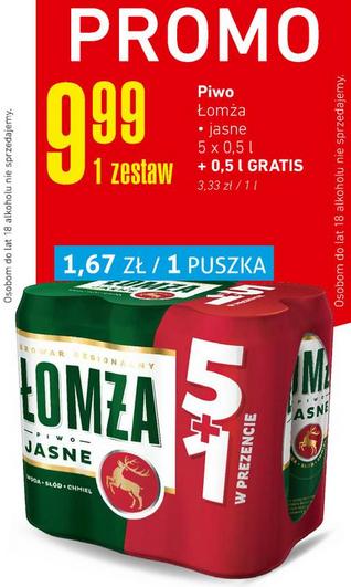 6x piwo Łomża Jasne (tylko 1,67 zł za puszkę) @ Intermarche