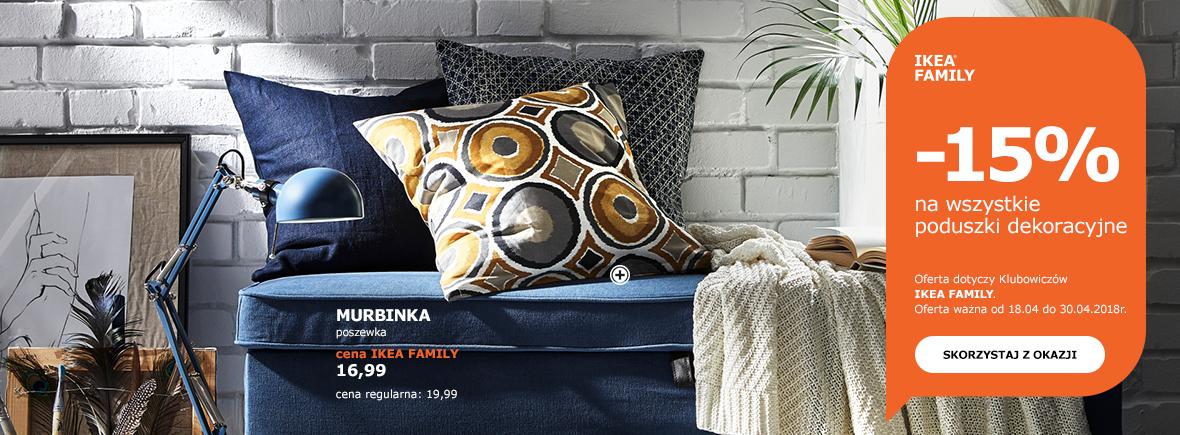 -15% na wszystkie poduszki dekoracyjne @ Ikea Family